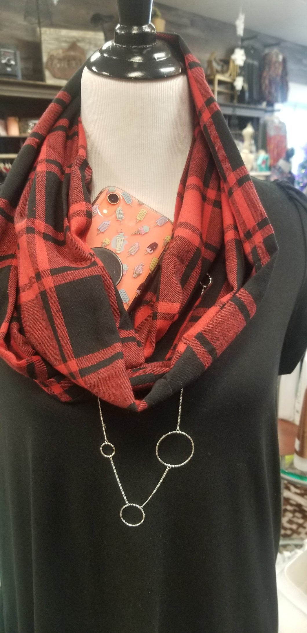 Zipper Pocket Scarves in Buffalo Plaid