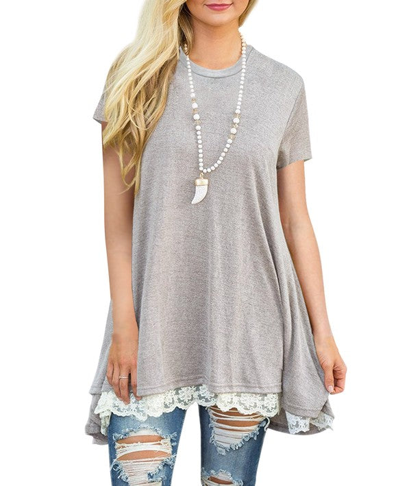 Sara McGee Lace Trim Top