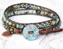 #74 Bohemian Beaded African Turquoise Wrap Bracelet