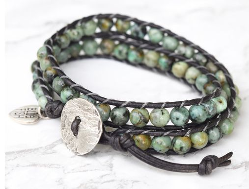 #73 Bold African Turquoise Beaded Double Wrap Bracelet