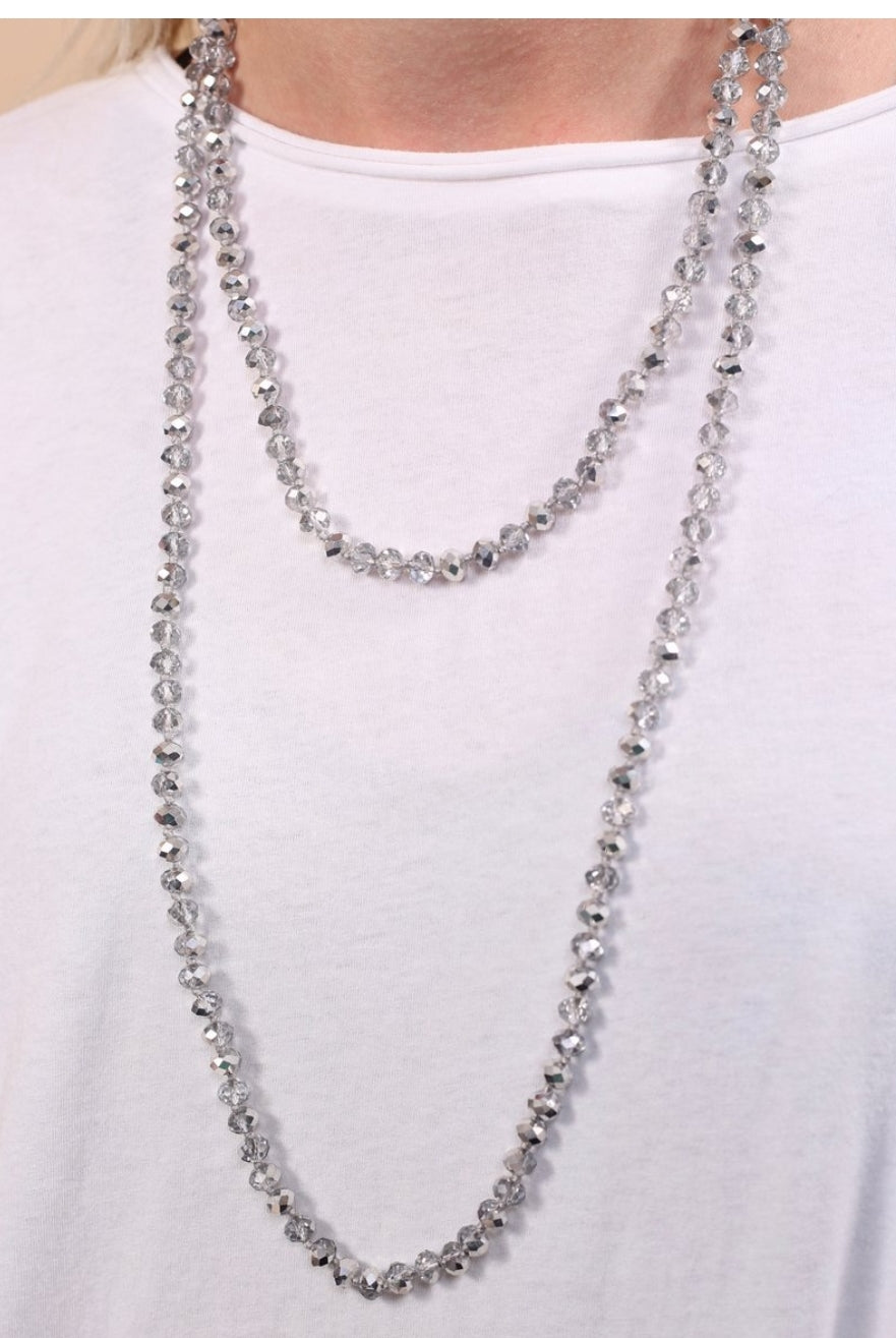 Cain Silver Beaded Crystal Necklace