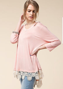 Blush Top with Crochet Detail