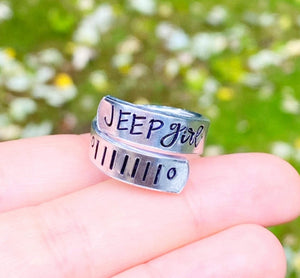 Jeep Girl Handstamped Ring