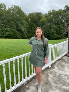Olive Button up Tunic
