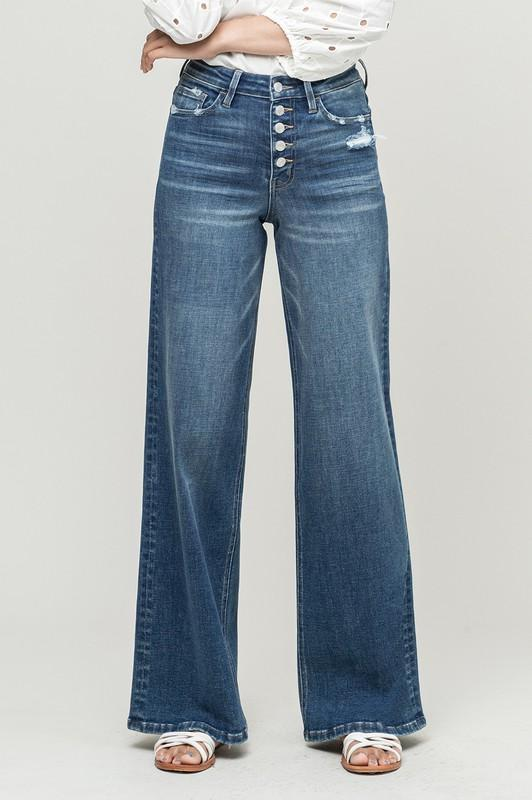 Becca Button Fly Straight Leg Jeans by Vervet