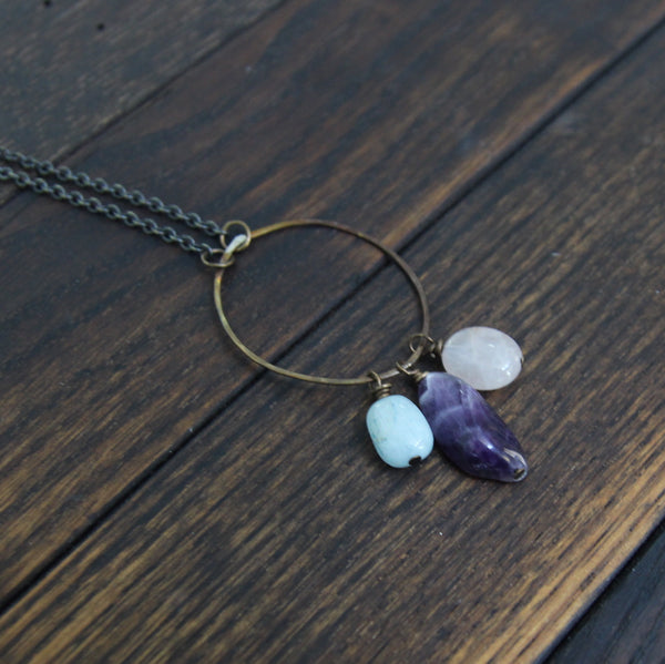 courage to seek peace and love :: aquamarine. amethyst. rose quartz