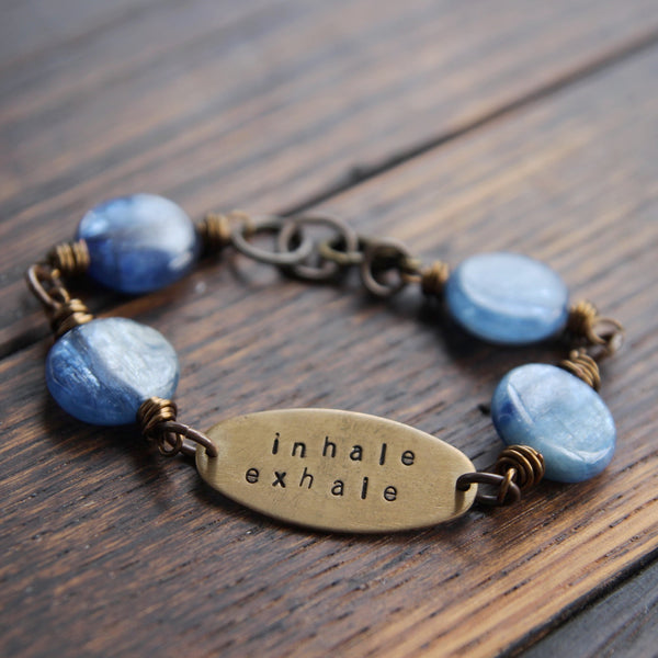 inhale exhale :: soul mantra bracelet with kyanite
