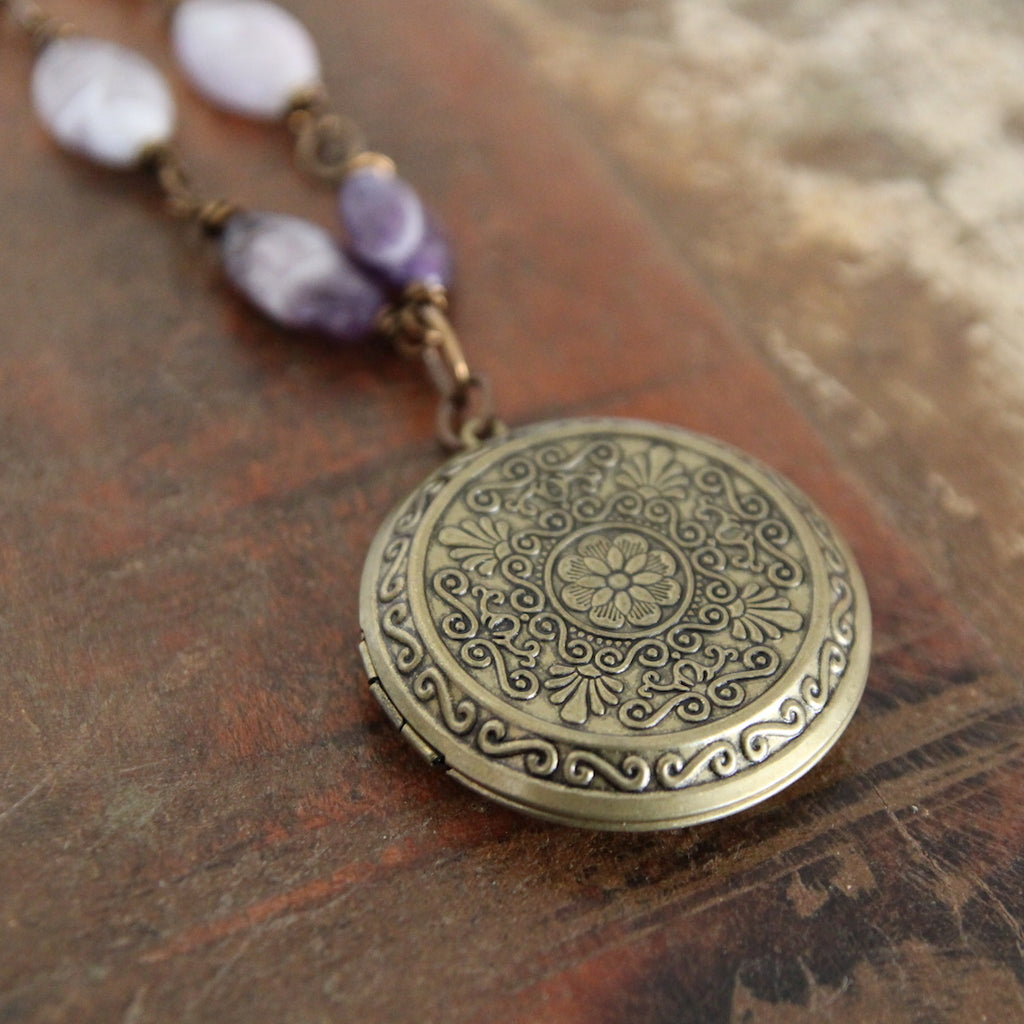 showing up :: locket with amethyst