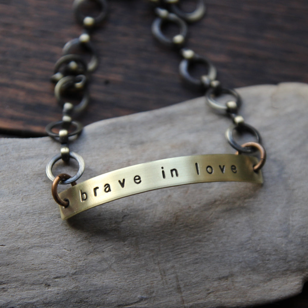 brave in love mantra bracelet