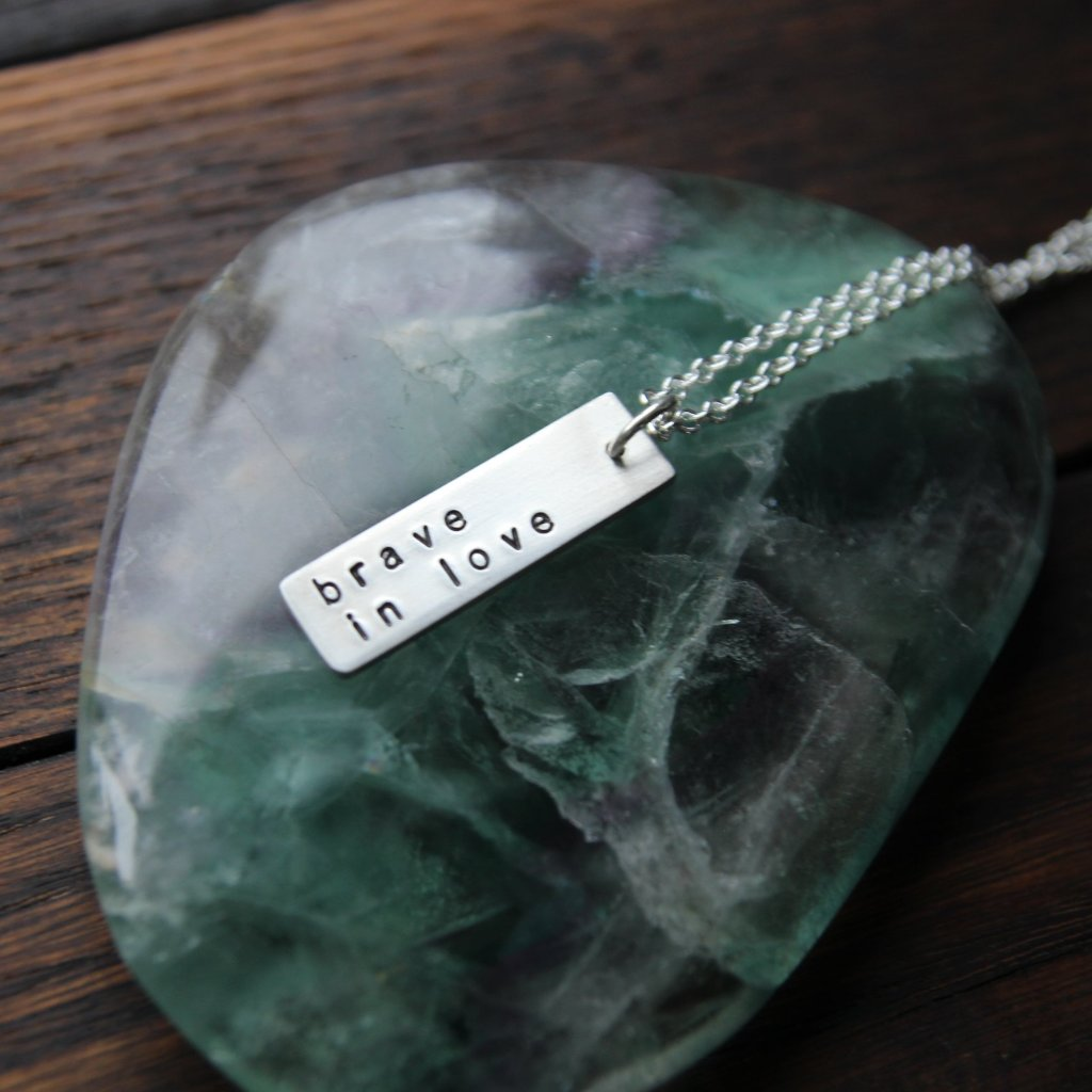 brave in love :: pewter bar mantra necklace