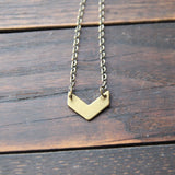 centered :: brass chevron necklace