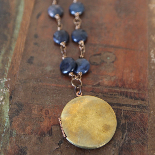 stay true :: locket with dumortierite