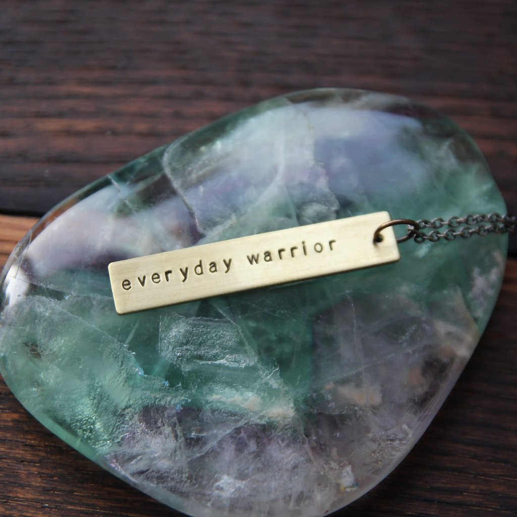 everyday warrior :: brass bar mantra necklace
