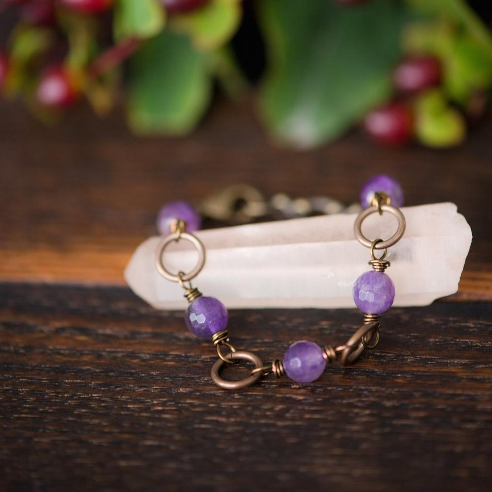 five deep breaths :: peace amethyst bracelet