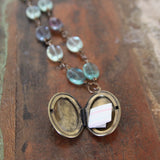 listening to intuition :: locket with rainbow fluorite