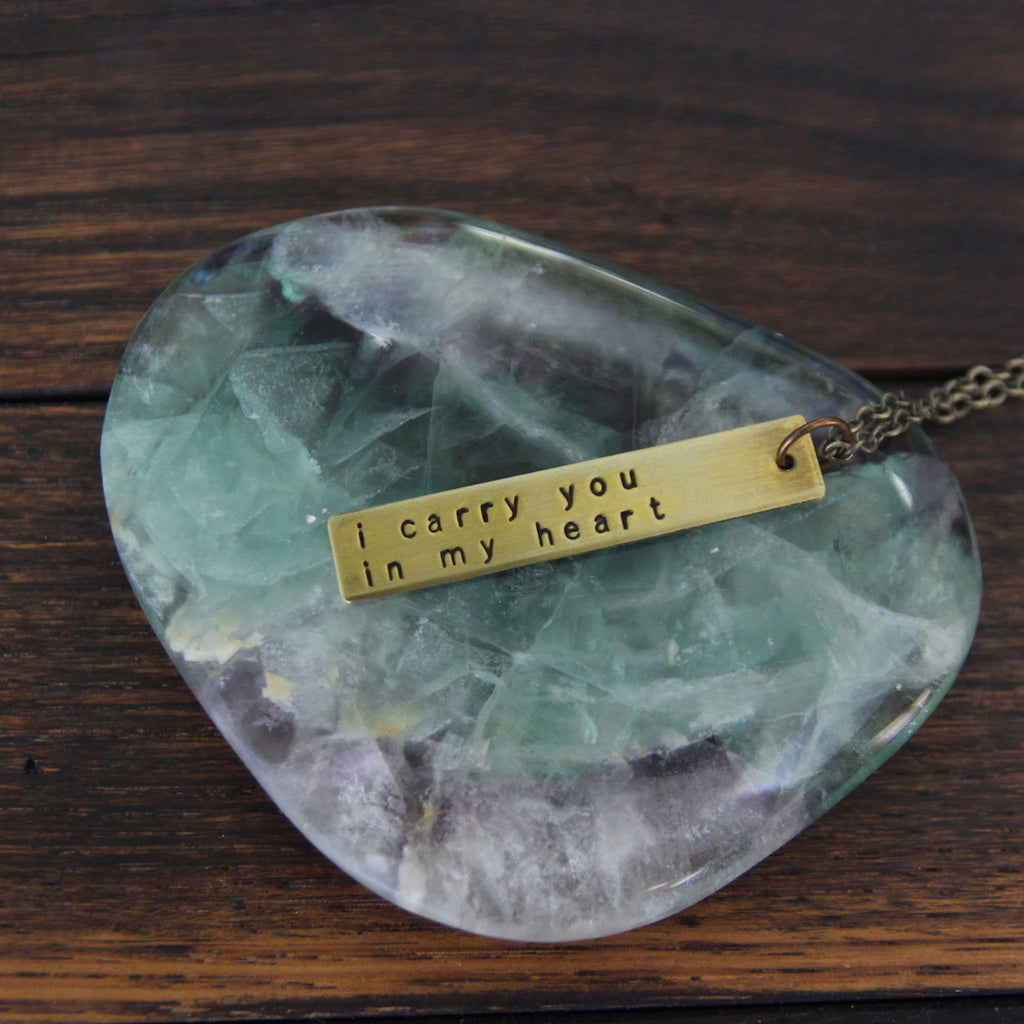 i carry you in my heart :: brass bar mantra necklace