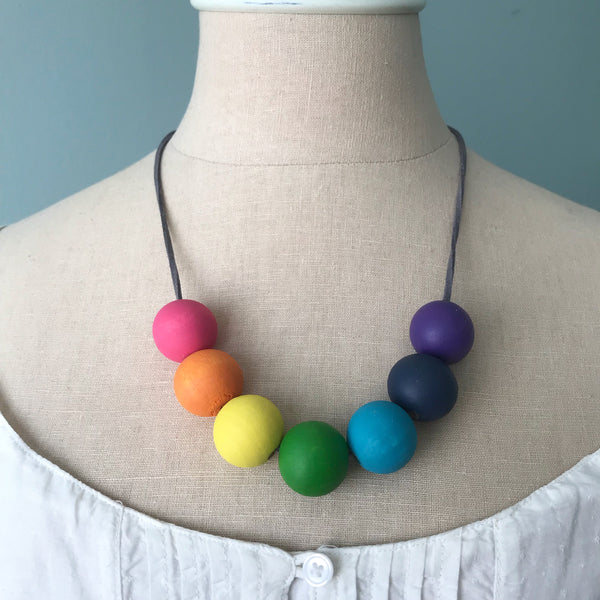 rainbow (large) :: wooden bead necklaces for RAICES