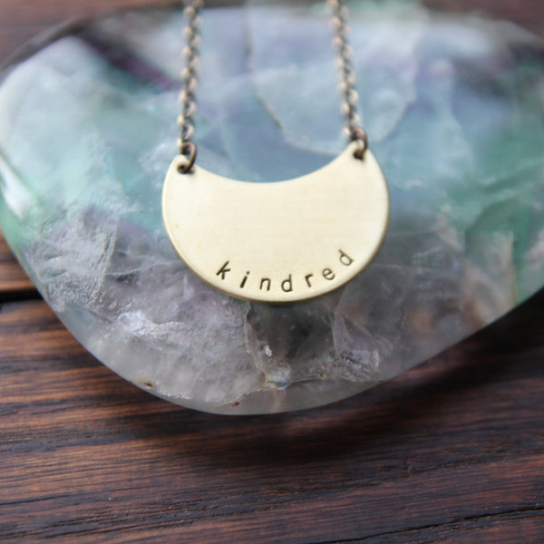 kindred :: brass moon mantra necklace