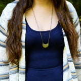 just breathe :: brass moon mantra necklace