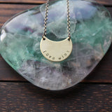 love wins :: brass moon mantra necklace