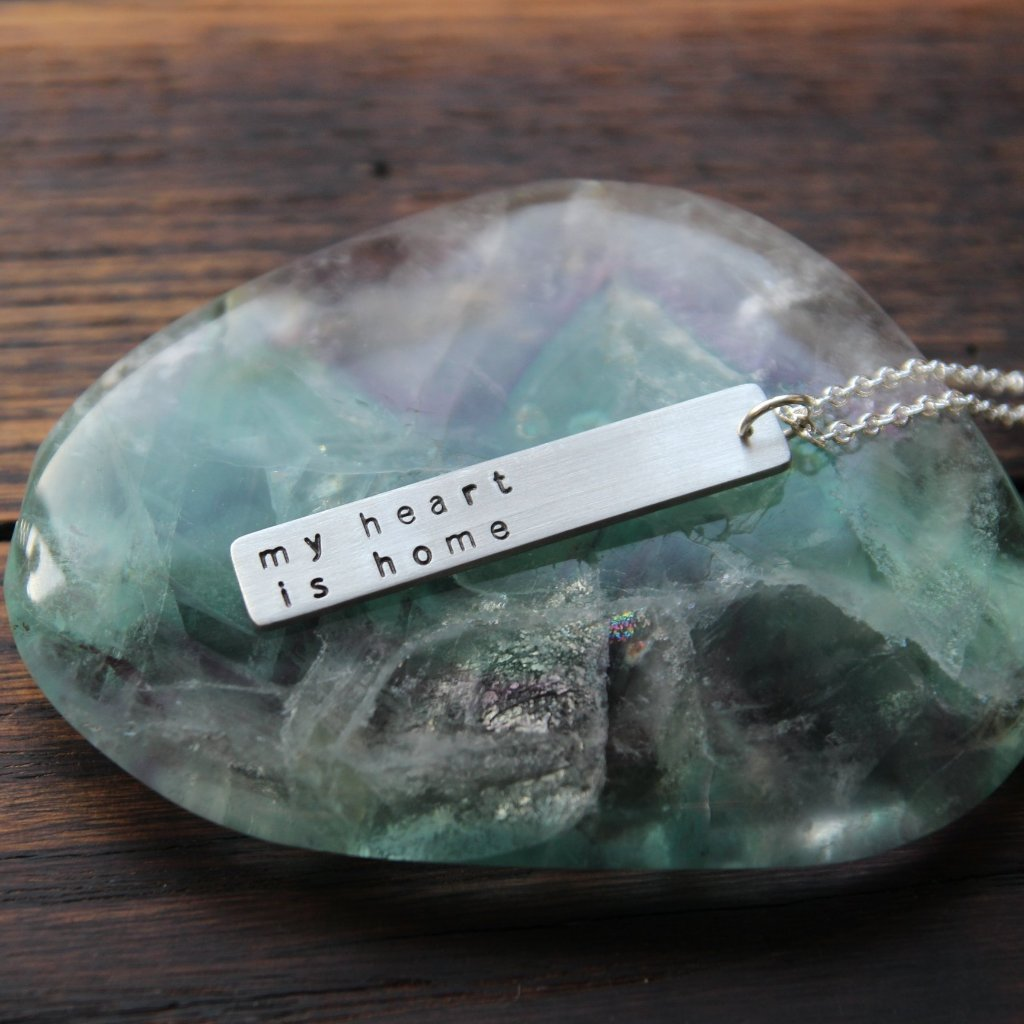 my heart is home :: pewter bar mantra necklace