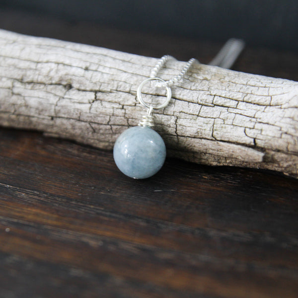 courage + light :: one breath aquamarine necklace
