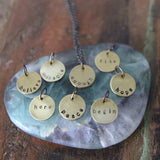 small brass circle mantra necklaces