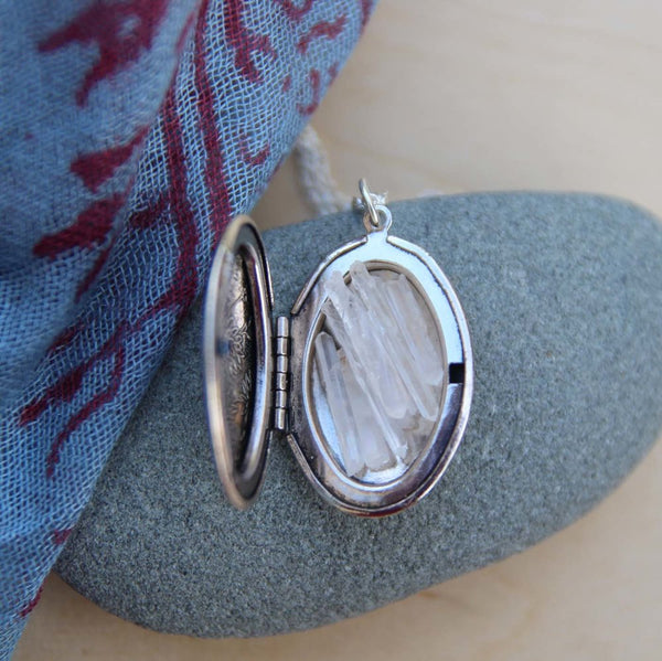 quartz point altar locket