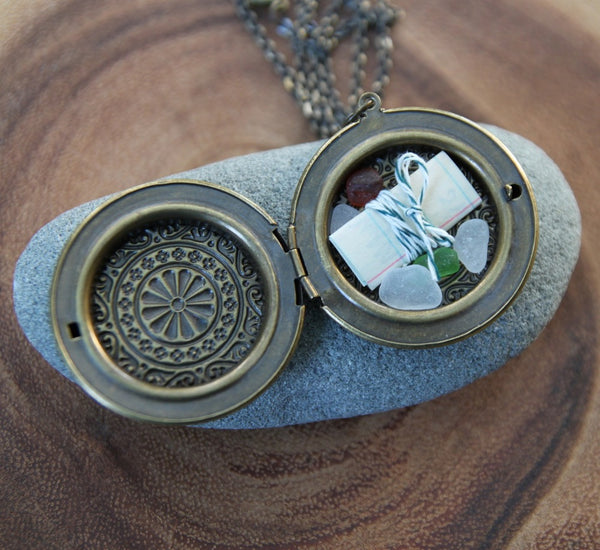 sea glass altar locket