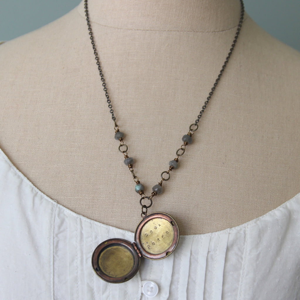 seek peace :: locket with labradorite