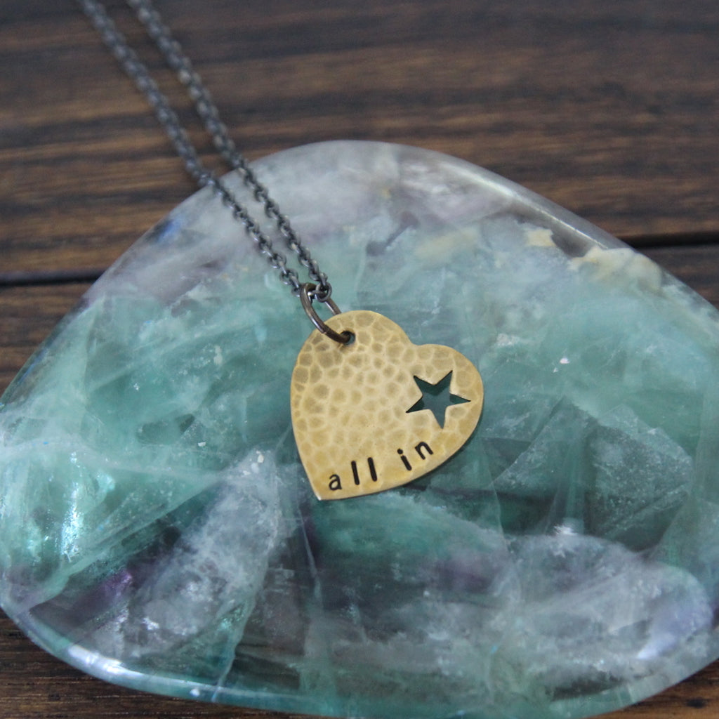 all in :: brass heart mantra necklace