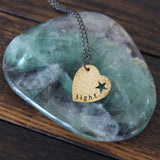 light :: brass heart mantra necklace