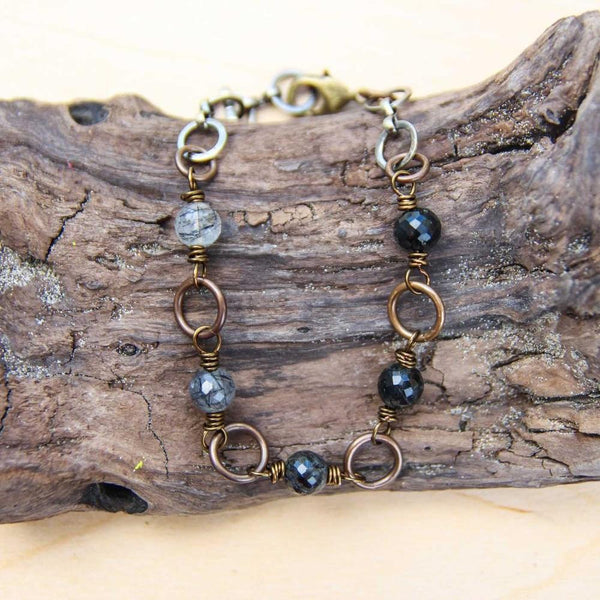 five deep breaths :: centering tourmalinated quartz bracelet