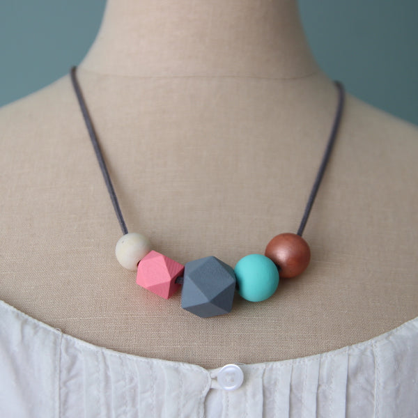 Saturn's Moon :: wooden bead necklaces for RAICES