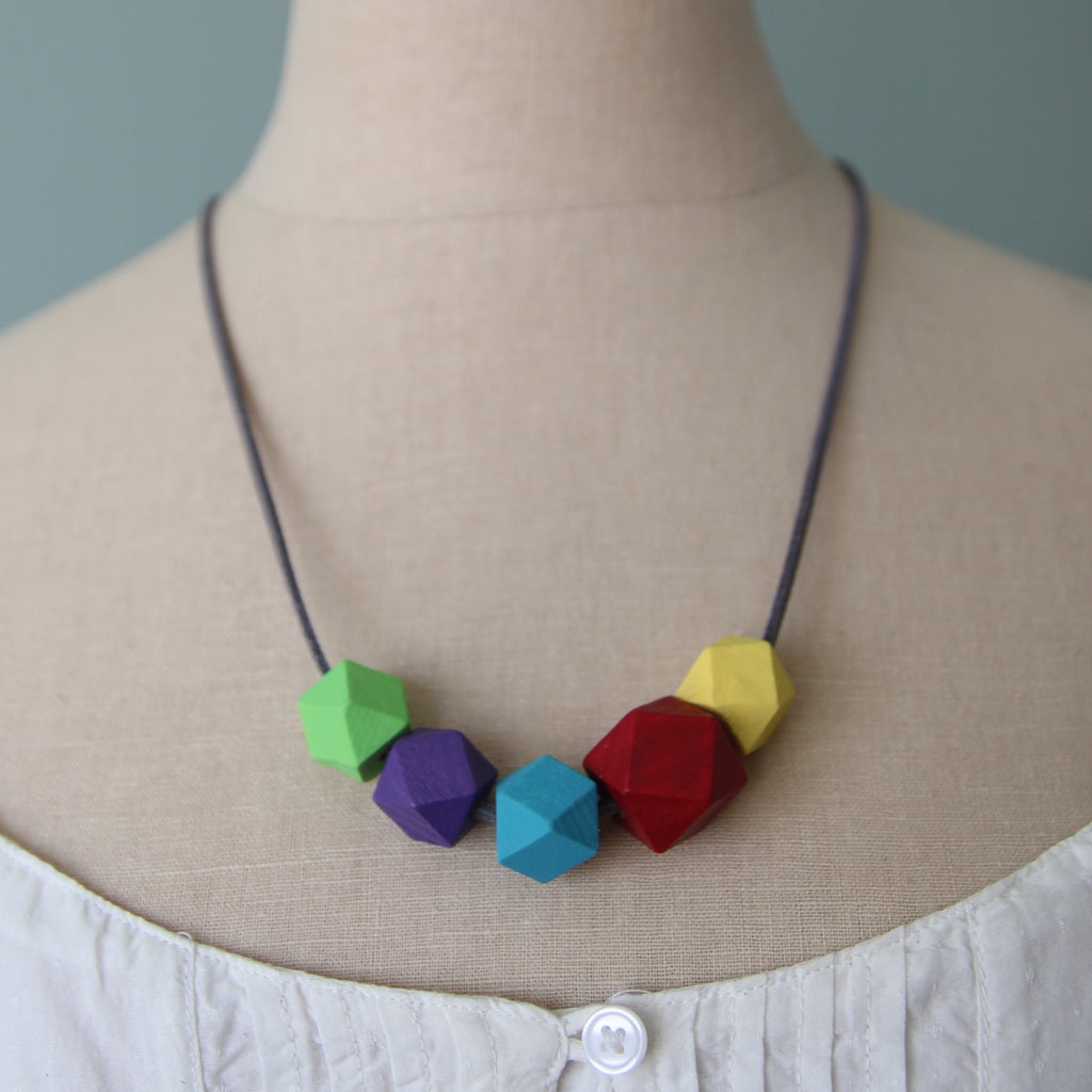 Partial Rainbow :: wooden bead necklaces for RAICES