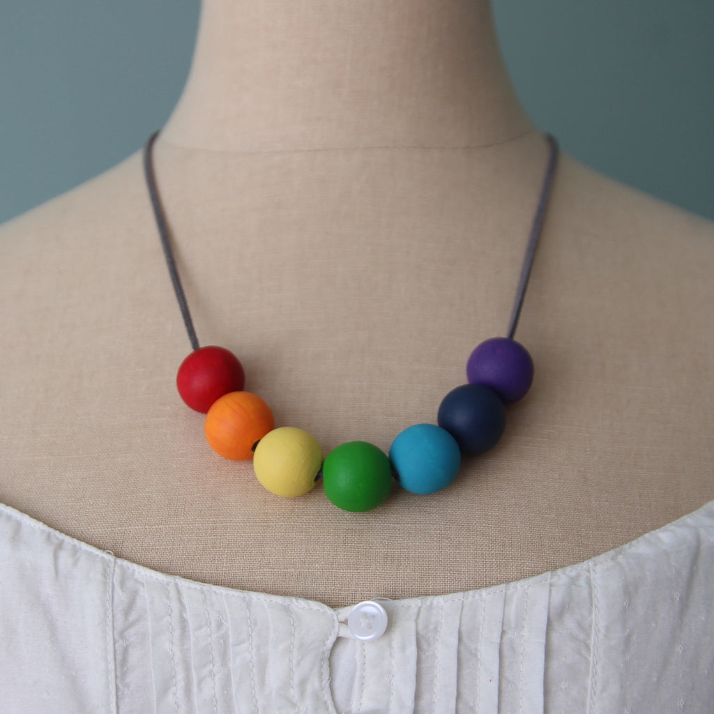 rainbow (medium) :: wooden bead necklaces for RAICES