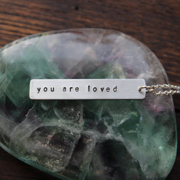 you are loved :: pewter bar mantra necklace