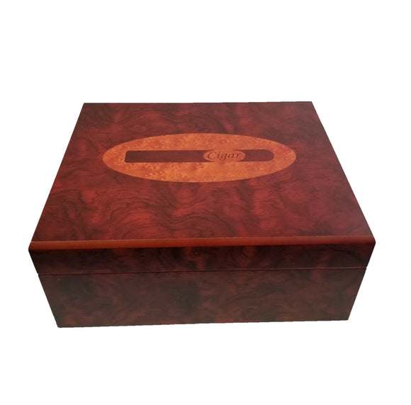 30 Count Humidor - Brown with Cigar Print