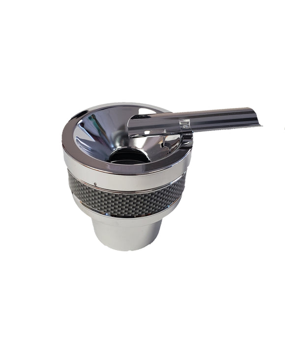 Black and Chrome Metal Cigar Ashtray for Cup Holder