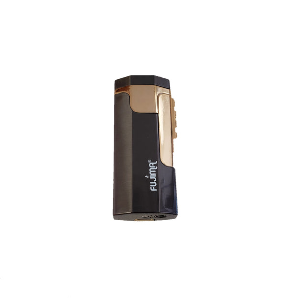 Double Torch Metal Lighter with Cigar Punch