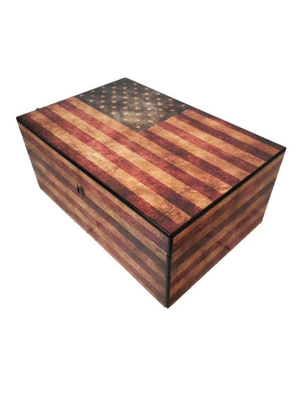100 Count Humidor - Old Glory Weathered American Flag