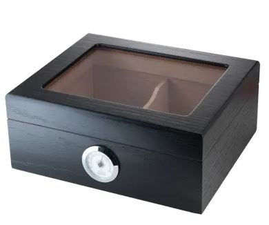 25+ Count Humidor - Glass Top - Black