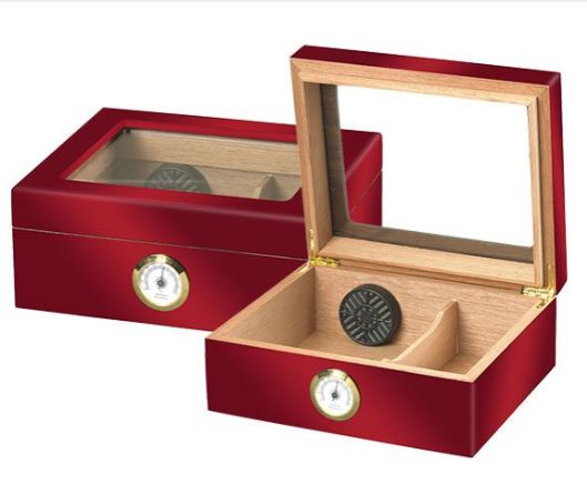 25 Count Humidor - Red - Glass Top