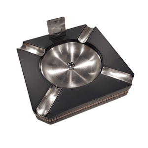 Premium Cigar Ashtray - Black with Leather and Cutter