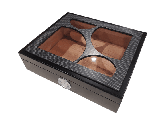 20 Count Humidor - Black - Glass Top
