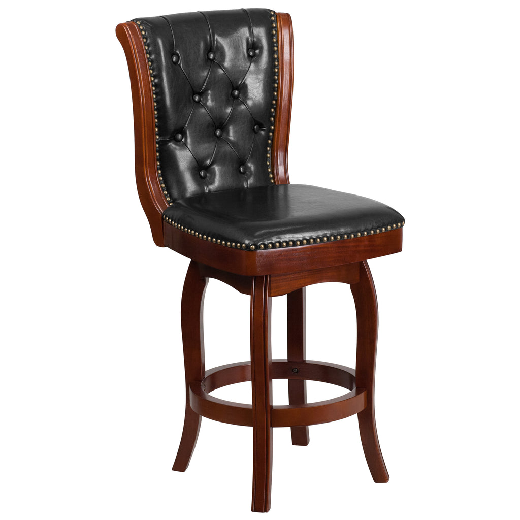 26 High Cherry Wood Counter Height Stool With Black