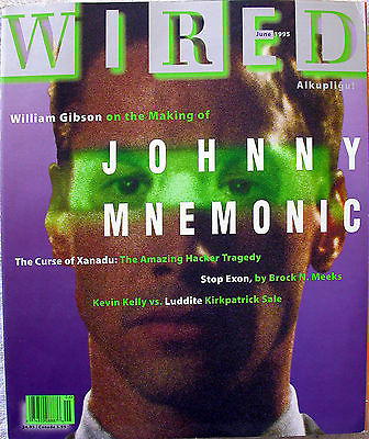 WILLIAM GIBSON 1995 WIRED Magazine Keanu Johnny Mnemonic Absolut Software Ad