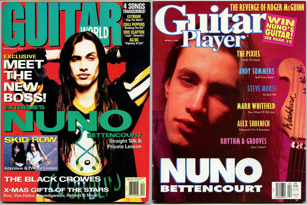 NUNO BETTENCOURT Lot 2: 1991 Guitar Player Magazine + 1992 Guitar World Magazine