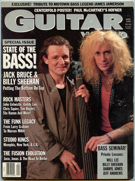 JACK BRUCE April 1989 Guitar World Magazine Billy Sheehan James Jamerson