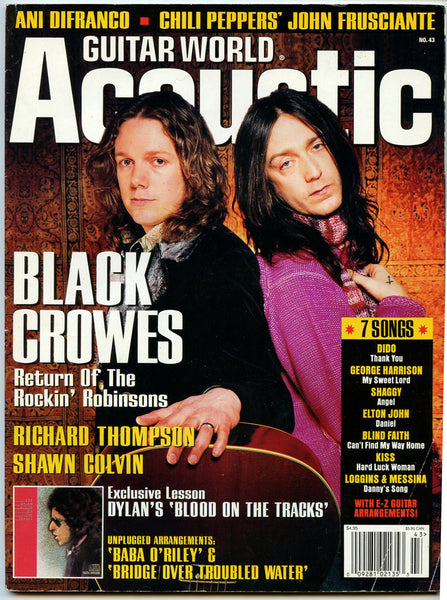 BLACK CROWES 2001 Guitar World Acoustic Magazine 43 Ani DiFranco Richard Thompson